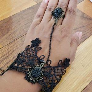 Beautiful women's hand jewelry bracelet with ring